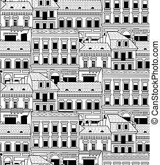 pueblo, ciudad, edificios, pattern., seamless, abajo, negro, blanco
