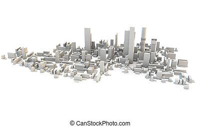 pueblo, ciudad, render, sobre, o, 3d