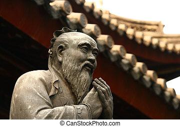 pueblo, confuciano, viejo, shanghai, estatua, templo