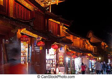 pueblo, dayan, viejo, lijiang, night.