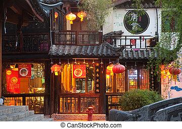 pueblo, dayan, viejo, lijiang, noche