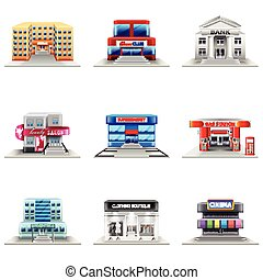 pueblo, edificios, vector, conjunto, iconos