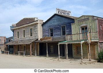 pueblo, edificios, viejo, de madera, norteamericano, occidental