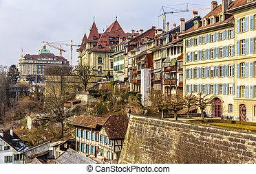 pueblo, edificios, viejo, -, suiza, berna