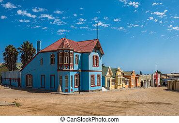 pueblo, estilo, colorido, luderitz, alemán, casas, namibia