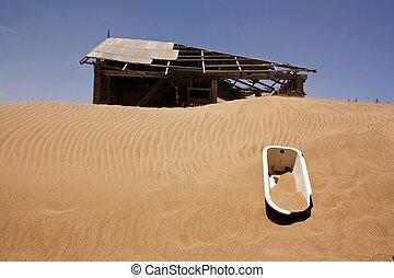 pueblo fantasma, en, el, desierto
