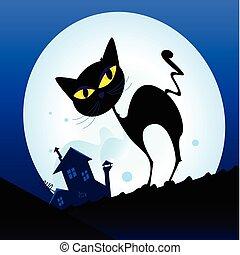 pueblo, gato negro, silueta, noche