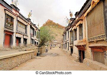 pueblo, gyantse, fortaleza, tibet., dzong