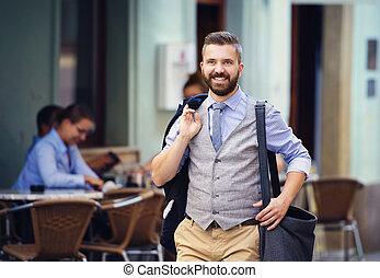 pueblo, hipster, hombre de negocios