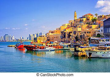 pueblo, israel, ciudad vieja, jaffa, aviv, teléfono, puerto