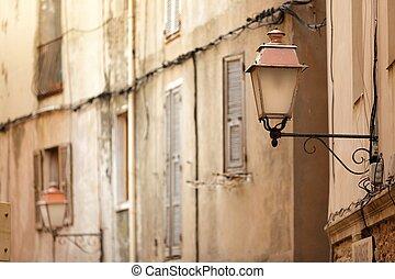 pueblo, lámpara, viejo, poste
