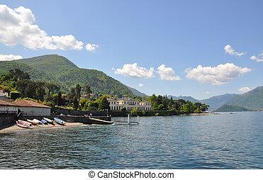 pueblo, lago, famoso, como, bellagio, italiano