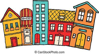 pueblo, lindo, vecindad, colorido, /, pequeño, caricatura