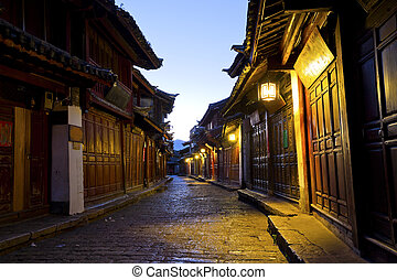 pueblo, mañana, china., viejo, lijiang