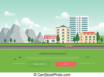 pueblo, montañas, moderno, -, ecofriendly, ilustración, ...
