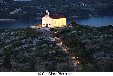 pueblo, murter, iglesia, croata