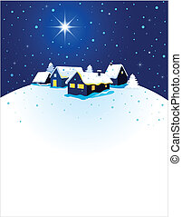 pueblo, navidad, nieve, tarjeta, noche