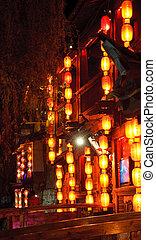 pueblo, nightr, viejo, lijiang