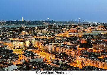 pueblo, noche, viejo, portugal, lisboa