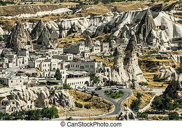 pueblo, pavo, capital, turismo, goreme-cappadocia