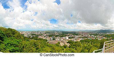 pueblo, phuket, rang, khao, punto de vista, panorama