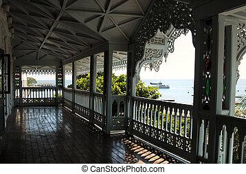 pueblo, piedra, balcón