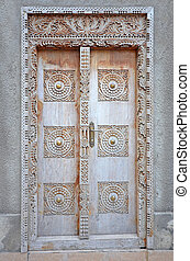 pueblo, piedra, puerta, de madera, -, viejo, típico,...