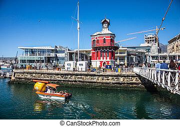 pueblo, placer, puerto, barco, capa