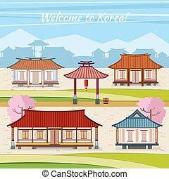 pueblo, plano, estilo, viejo, houses., tradicional, vector,...