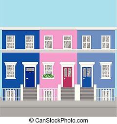pueblo, plano, unido, inglaterra, colorido, viaje, casas, colina, notting, arquitectura, landmark., reino, icono, london., turismo