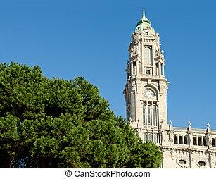 pueblo, portugal, square., vestíbulo, liberdade, porto,...