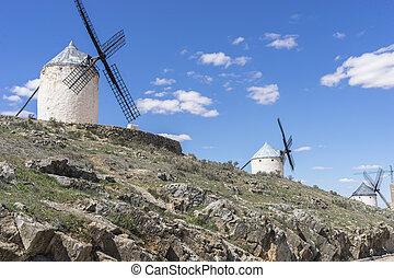 pueblo, provincia, cultura, trigo, molinos, molienda, viento,  Consuegra,  Toledo, blanco, españa