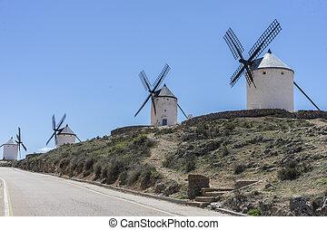 pueblo, provincia, molinos, trigo, historia, molienda, viento,  Consuegra,  Toledo, blanco, españa
