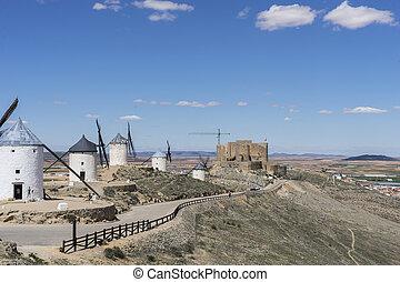 pueblo, provincia, trigo, molinos, molienda, viento,  Consuegra,  Toledo, blanco, españa