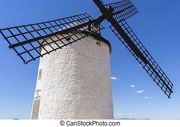 pueblo, provincia, trigo, molinos, molienda, viento,  Consuegra,  Toledo, blanco, molino de viento, españa