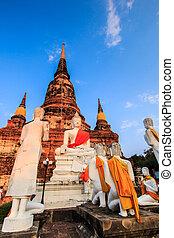 pueblo, provincia, viejo, ayuthaya, buddha, tailandia