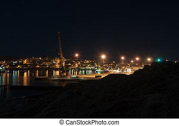 pueblo, puerto, noche, luderitz