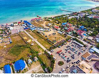 pueblo, recurso, seashore., vista aérea