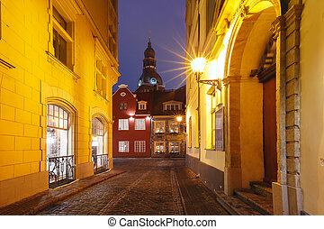 pueblo, riga, calle, noche, viejo, letonia