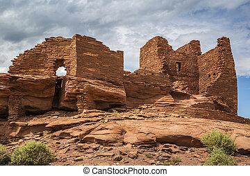 pueblo, ruina, wukoki