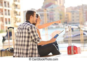 pueblo, señalar, pareja, costa, señal, turistas
