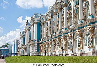 pueblo, selo, tsarskoye, s., palacio, catherine, localizado...