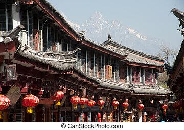 pueblo, sitio, yunnan, histórico, herencia, mundo, lijiang