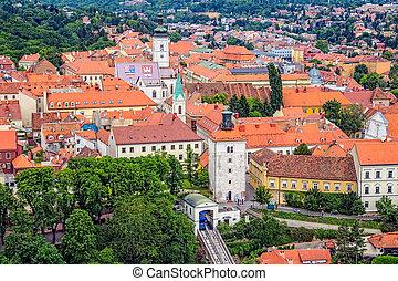 pueblo, superior, viejo,  Zagreb