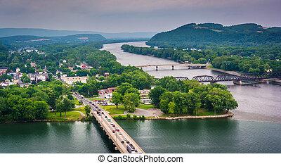 pueblo, susquehanna, northumberland, pennsy, río, vista