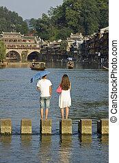 pueblo, viejo, hunan, visitar, fenghuang, china, turistas
