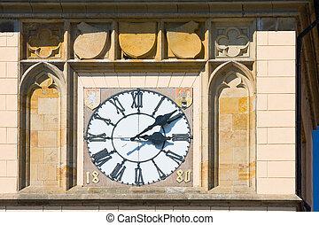 pueblo, viejo, medieval, reloj, praga, torre