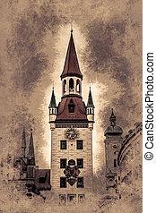 pueblo, viejo, munich, torre, vestíbulo, germany.