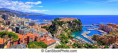 pueblo, viejo, palacio, príncipe, contorno, mónaco, puerto