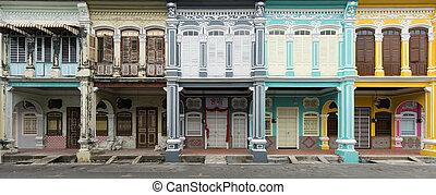 pueblo viejo, penang, casas, malasia, herencia, nuevo, ...